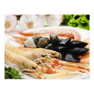 Shrimp and mussels postcard