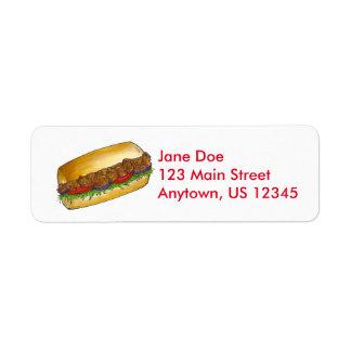 Shrimp Poboy Sandwich Return Address Labels