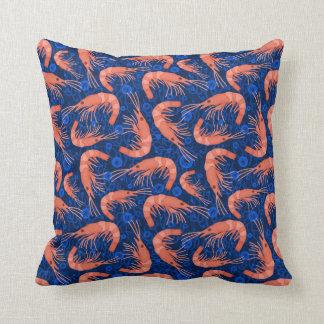Shrimp Prawn Coral Ocean Bubbles Coastal Navy Blue Cushion