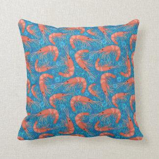 Shrimp Prawn Coral Ocean Bubbles Coastal Sea Blue Cushion