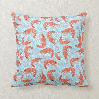Shrimp Prawn Coral Ocean Bubbles Nautical Sea Blue Cushion
