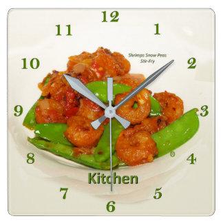 Shrimps Snow Peas Oyster Stir Fry Square Wall Clock