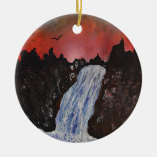 Shrine over the waterfall christmas ornament