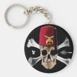 Shriner Masonic  Skull and Bones with Fez Basic Round Button Key Ring