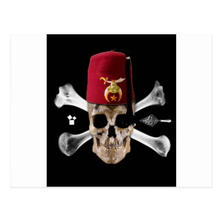 Shriner Masonic  Skull and Bones with Fez Postcard