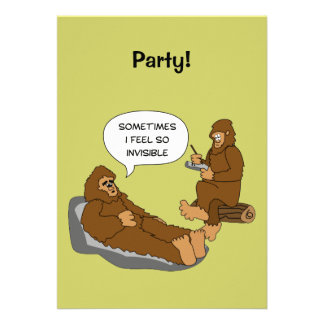 Shrink's Office Funny Sasquatch Cartoon Custom Custom Invite