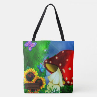 Shroom Gully Whimsical Fantasy Art Tote Bag