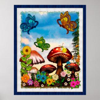 Shroomvilla Summer Whimsical Fantasy Art Posters