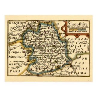 Shropshire County Map, England Postcard