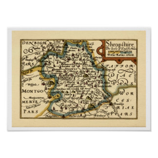 Shropshire County Map, England Poster