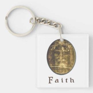 Shroud of Turin cloth Double-Sided Square Acrylic Key Ring