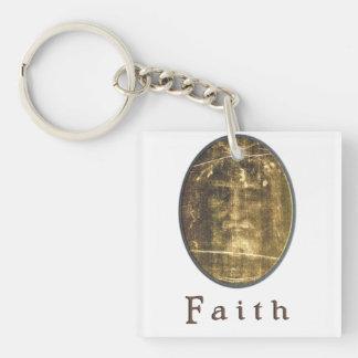 Shroud of turin Double-Sided square acrylic key ring