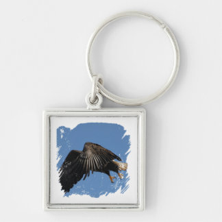 Shrouded by Wings Silver-Colored Square Key Ring