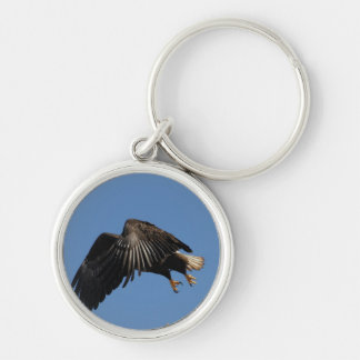 Shrouded by Wings Silver-Colored Round Key Ring