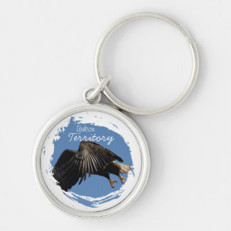 Shrouded by Wings; Yukon Territory Souvenir Silver-Colored Round Key Ring