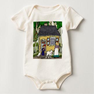 Shtetl,  Bubbeh, little girl, goose and goat. Baby Bodysuit