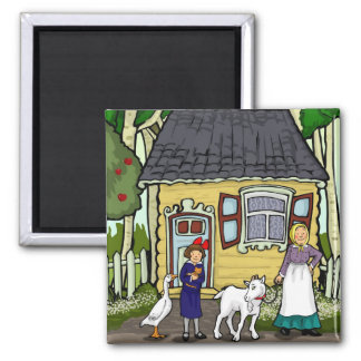 Shtetl,  Bubbeh, little girl, goose and goat. Magnets