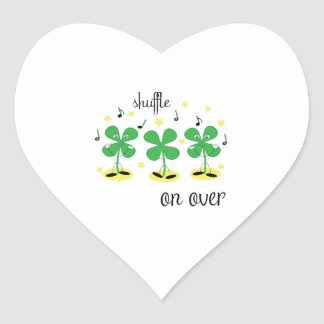 Shuffle on Over Heart Stickers