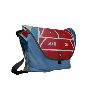 Shuffleboard on Board Red and blue Commuter Bags