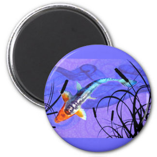 Shusui Koi in Purple Pond with Cattails 6 Cm Round Magnet