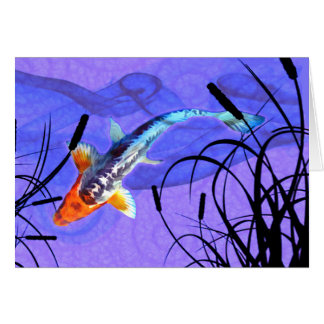 Shusui Koi in Purple Pond with Cattails Card