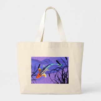Shusui Koi in Purple Pond with Cattails Large Tote Bag