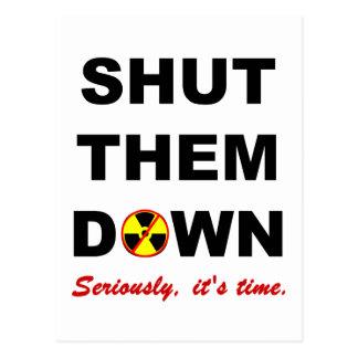 Shut Them Down Anti-Nuclear Slogan Postcards
