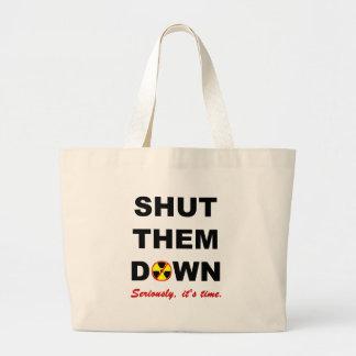 Shut Them Down Anti-Nuke Slogan Large Tote Bag