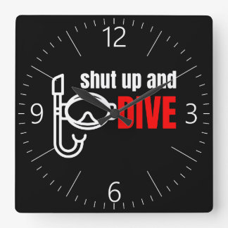 Shut up and dive square wall clock