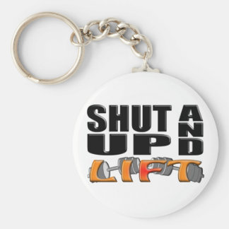 SHUT UP AND LIFT (Bar-Bell) Basic Round Button Key Ring