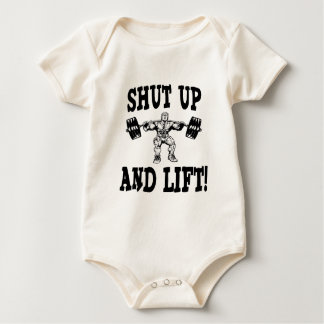 Shut Up And Lift Weightlifting Baby Bodysuits