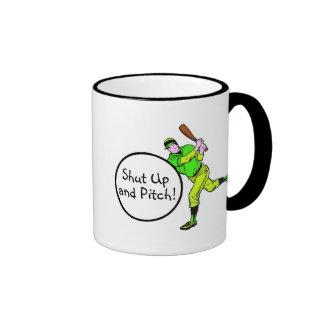 Shut Up And Pitch Baseball Mugs