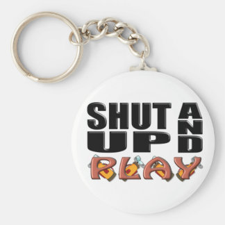 SHUT UP AND PLAY (Golf) Basic Round Button Key Ring