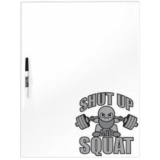 Shut Up And Squat - Cute Kawaii Weightlifter Dry Erase Board