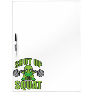 Shut Up And Squat Kawaii Anime Powerlifter Cartoon Dry Erase Board