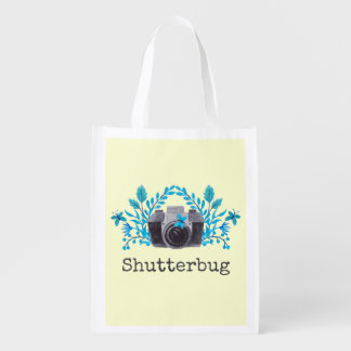 Shutterbug Camera With Blue Leaves And Butterflies