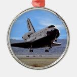 Shuttle Atlantis Landing at Edwards Silver-Colored Round Decoration