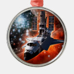 Shuttle Atlantis with Hubble Telescope Silver-Colored Round Decoration