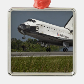 Shuttle Endeavour landing Kennedy Space Center Silver-Colored Square Decoration