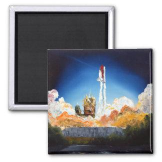 Shuttle Launch Square Magnet