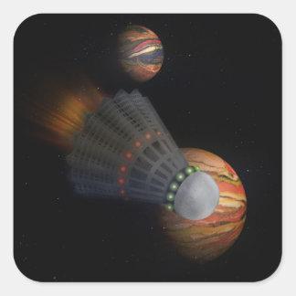 Shuttlecock Space Shuttle Square Sticker