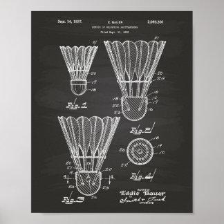 Shuttlecocks 1927 Patent Art Chalkboard Poster