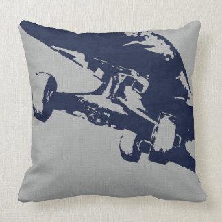 Shuvit Shove-It Skateboard Pillow Silver Navy Throw Cushion
