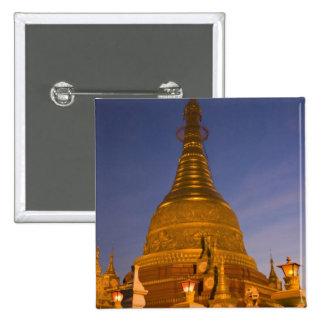 Shwe Myin Tin Temple, dusk, Make Tehi Lar, 15 Cm Square Badge