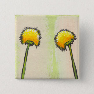 Shy awkward dandelions flower art fun painting 15 cm square badge