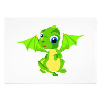 Shy Baby Dragon Invitations