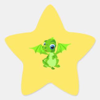 Shy Baby Dragon Star Sticker