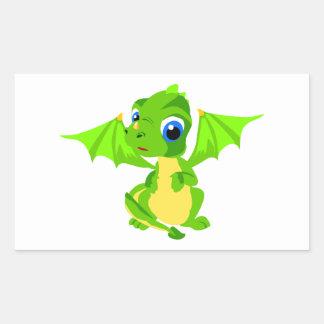 Shy Baby Dragon Rectangular Stickers