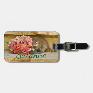 Shy Baby Racoon Behind Floral Bouquet Luggage Tag