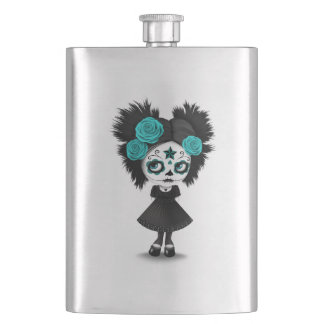 Shy Day of the Dead Girl with Big Eyes Blue Hip Flask